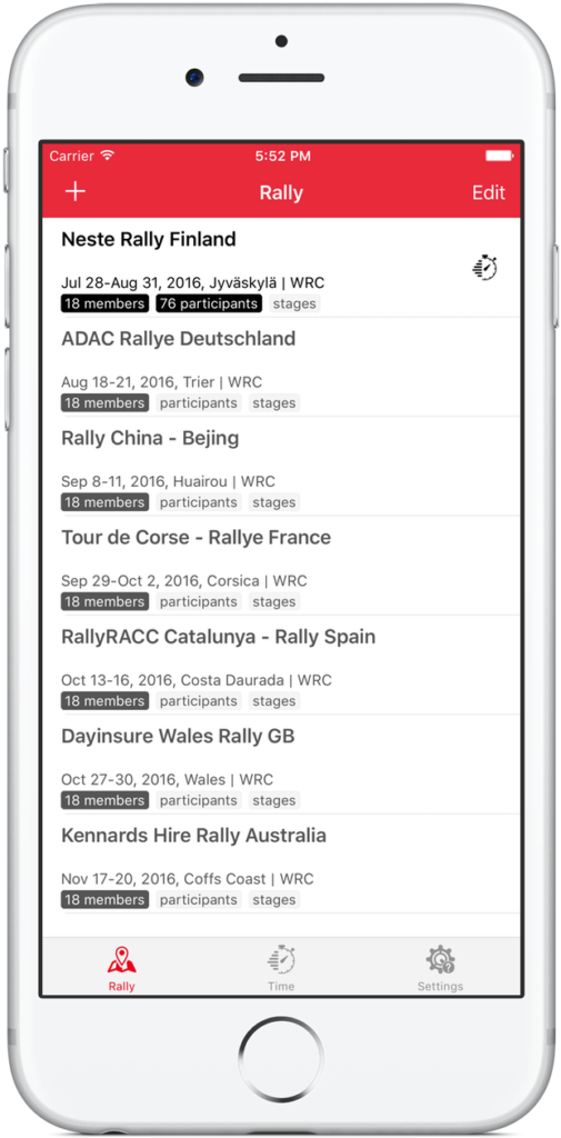 RallyTime Pro - Rally Car Stopwatch App for Spectators - Rally overview and selection